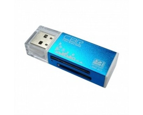 USB 2.0 Card reader CBR Human (Glam) CR-424, синий цвет, All-in-one, Micro MS(M2), SD, T-flash, MS-DUO, MMC, SDHC,DV,MS PRO, MS, MS PRO DUO