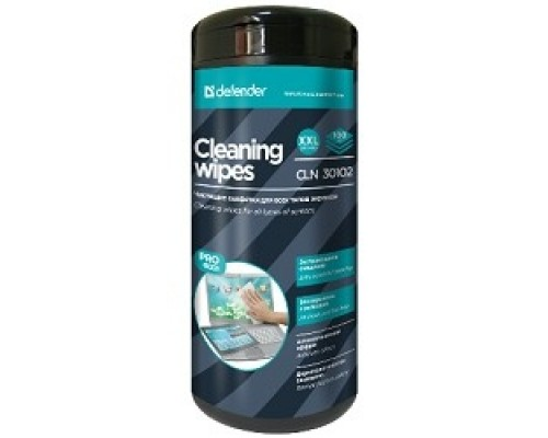 DEFENDER Влажные чистящие салфетки CLN 30102 PRO в пласт. тубе, 100шт.
