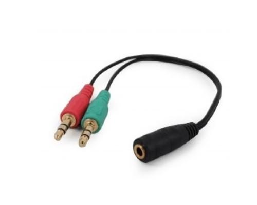 Кабель аудио сигнала Cablexpert, джек3.5 нушники + 3.5 микрофон-> джек3.5 4pin, длина 20см, черный