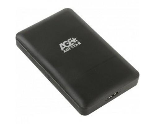 AgeStar 3UBCP3 (BLACK) USB 3.0 Внешний корпус 2.5 SATAIII HDD/SSD USB 3.0, пластик, черный, безвинтовая конструкция