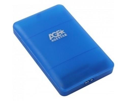 AgeStar 3UBCP3 (BLUE) USB 3.0 Внешний корпус 2.5 SATAIII HDD/SSD USB 3.0, пластик, синий, безвинтовая конструкция