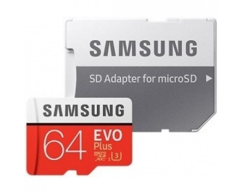 Micro SecureDigital 64Gb Samsung EVO Plus Class 10 MB-MC64HA/RU + adapter